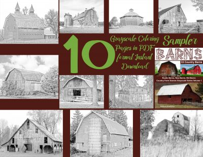 coloring pages barns