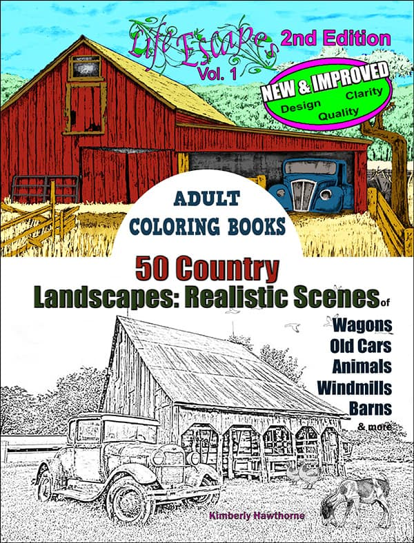 Life Escapes Adult Coloring Books Vol. 1 Country Scenes