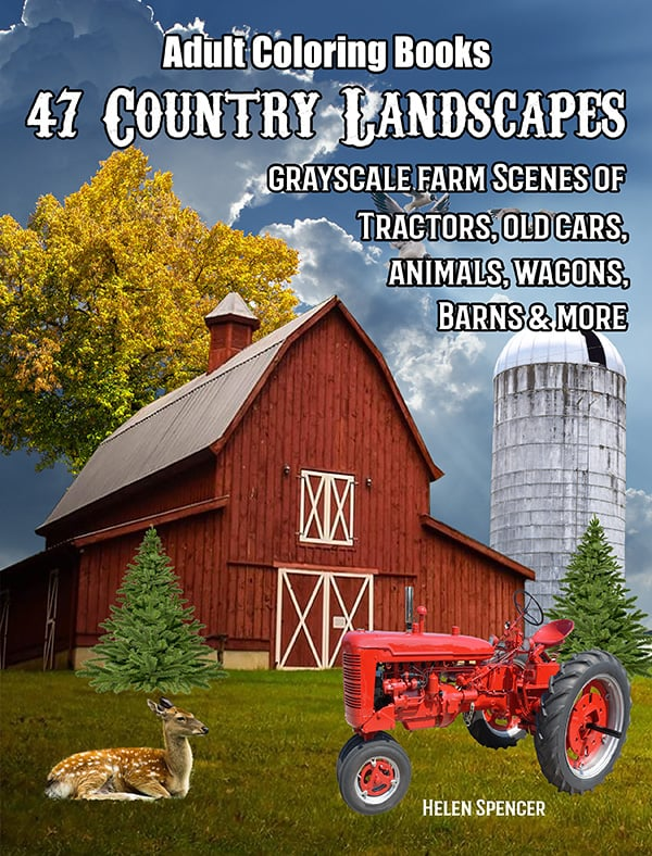 47 country landscapes adult coloring book by helen spencer
