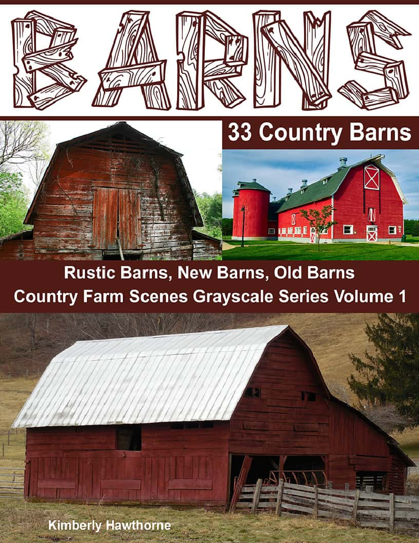 adult coloring book barns