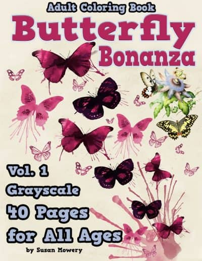 grayscale coloring books butterflies