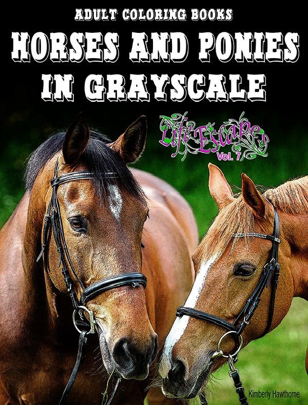 Life Escapes Adult Coloring Books Vol. 7 Horses and Ponies