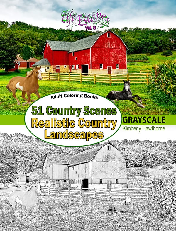 life escapes adult coloring books vol 8 country scenes