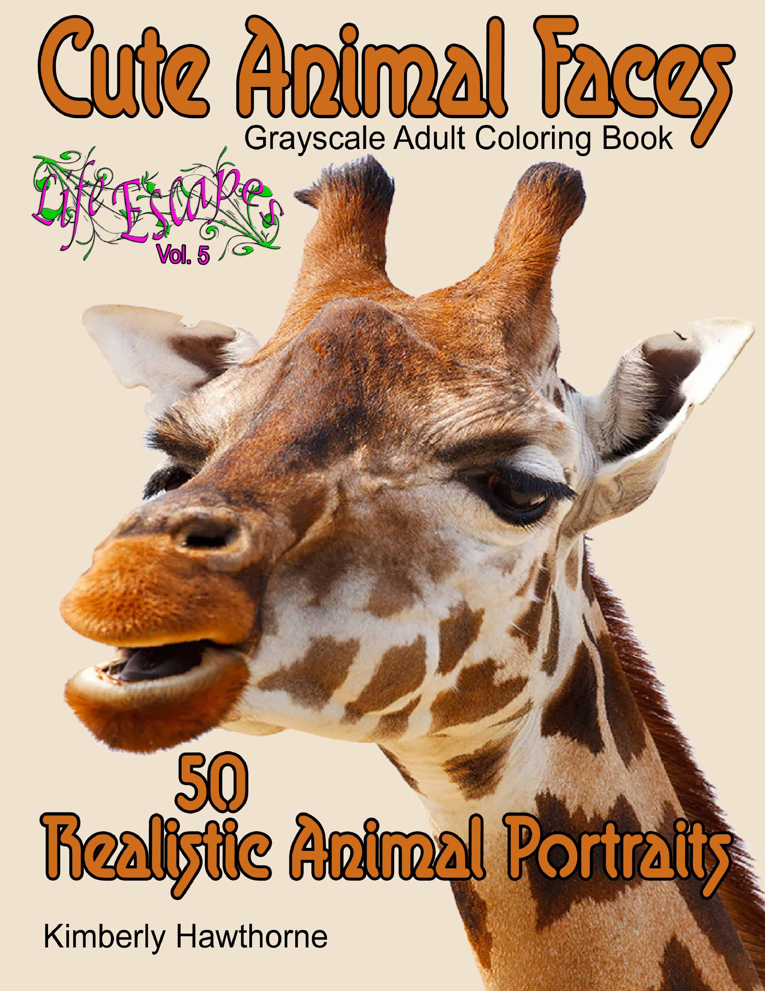 50 Cute Animal Faces Adult Coloring Book