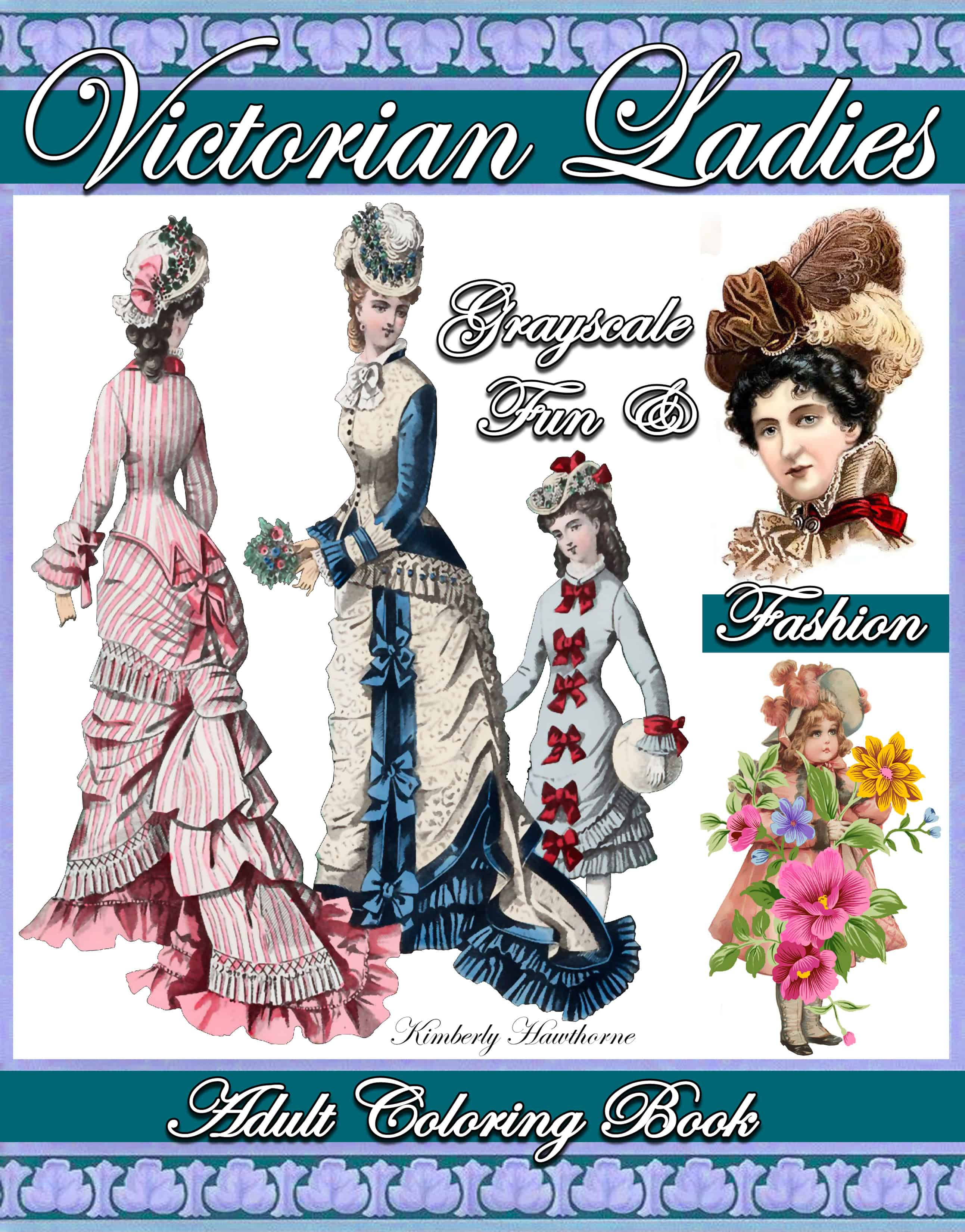 Victorian Ladies Fun Fashion Grayscale Adult Coloring Book