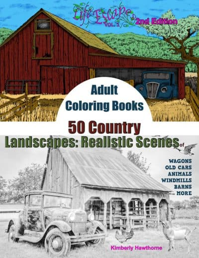 50 Country Realistic Scenes coloring book for adults