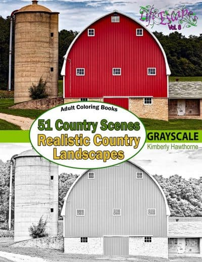 51 country scenes coloring book for adults