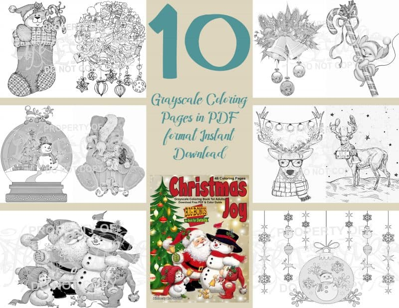 Christmas Joy 10 pack coloring pages