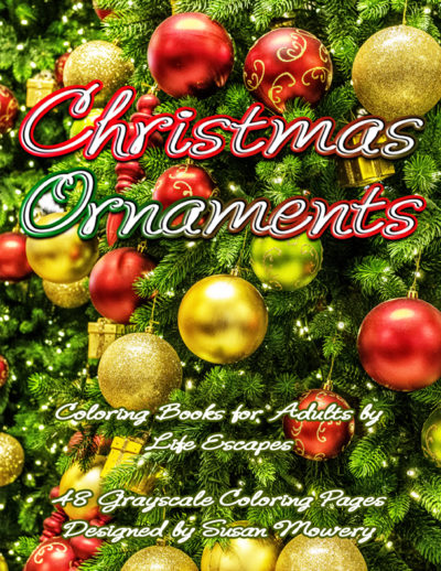 Christmas Ornaments grayscale coloring book pdf