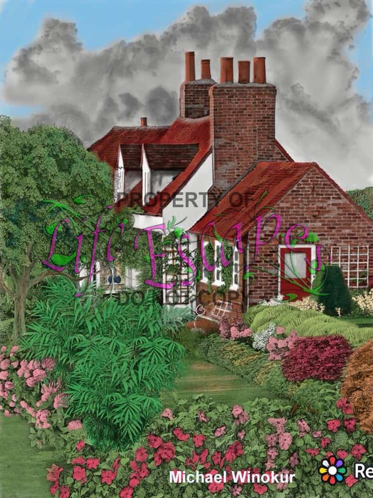 Country Cottage Backyard Gardens Coloring Book For Adults