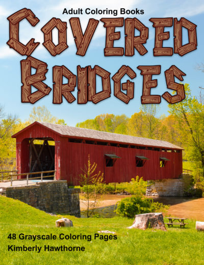 Covered Bridges grayscale coloring book for adults