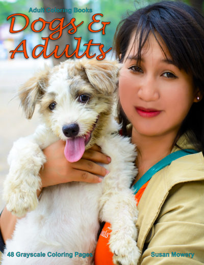 Dogs & Adults grayscale coloring book for adults