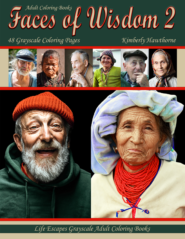 Faces of Wisdom grayscale adult coloring book