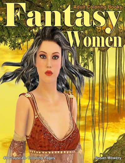 Fantasy Women adult coloring book