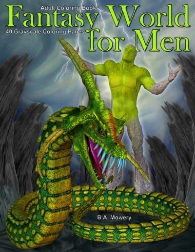 Fantasy World for Men adult coloring book