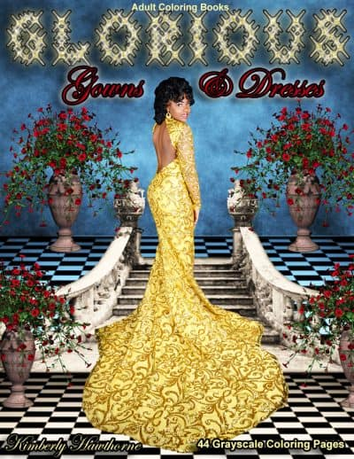 Glorious Gowns & Dresses adult coloring book