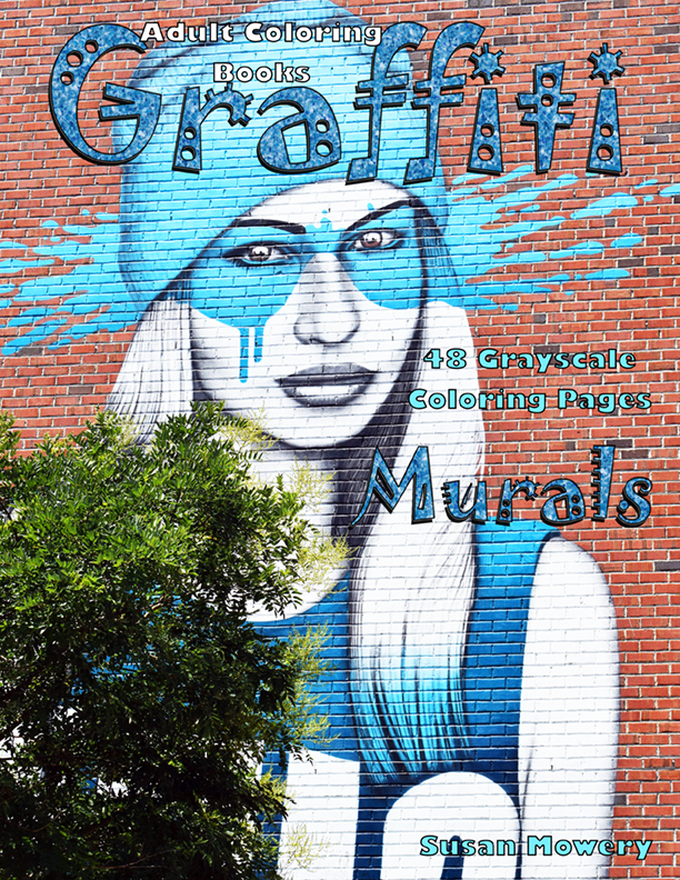 Graffiti Murals grayscale coloring book for adults