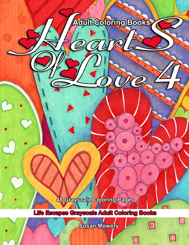 Hearts of Love 4 grayscale adult coloring book