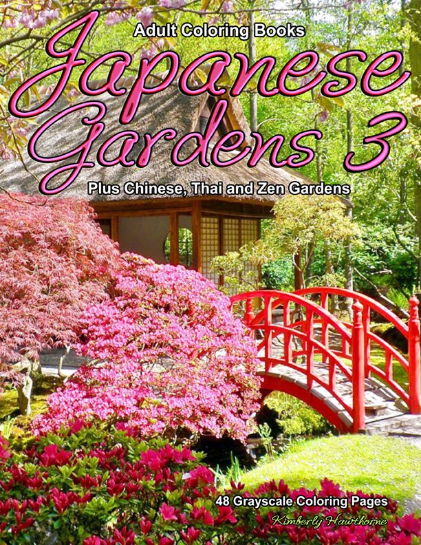Japanese Gardens 3 grayscale coloring book