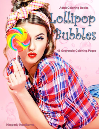 Lollipop Bubbles grayscale coloring book for adults