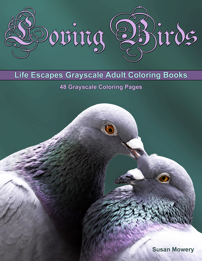 Loving Birds grayscale coloring book