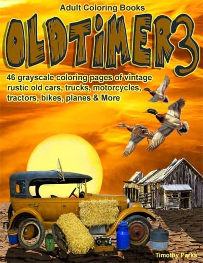 Oldtimer 3 adult coloring book for men