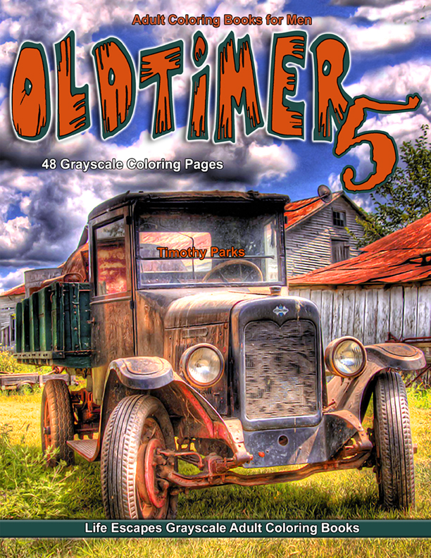 Oldtimer 5 grayscale adult coloring book men
