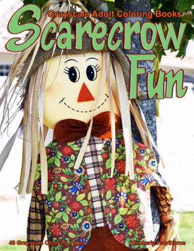 Scarecrow Fun grayscale adult coloring book pdf