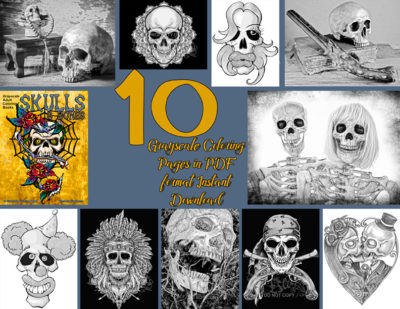 Skulls & Bones grayscale coloring pages