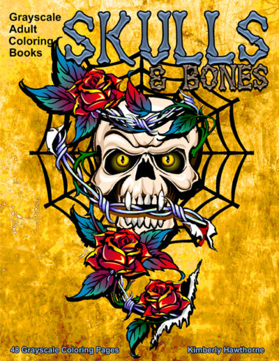 Skulls and Bones grayscale adult coloring book pdf