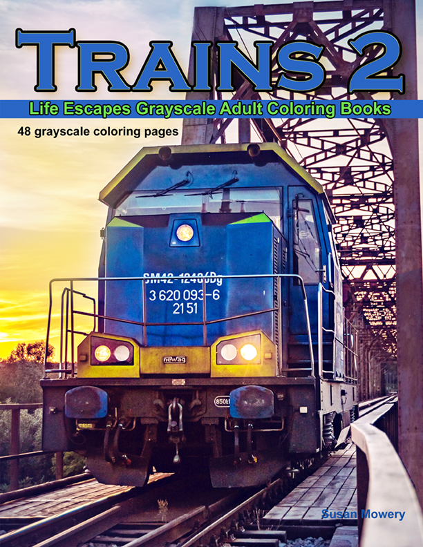 Trains 2 grayscale coloring book