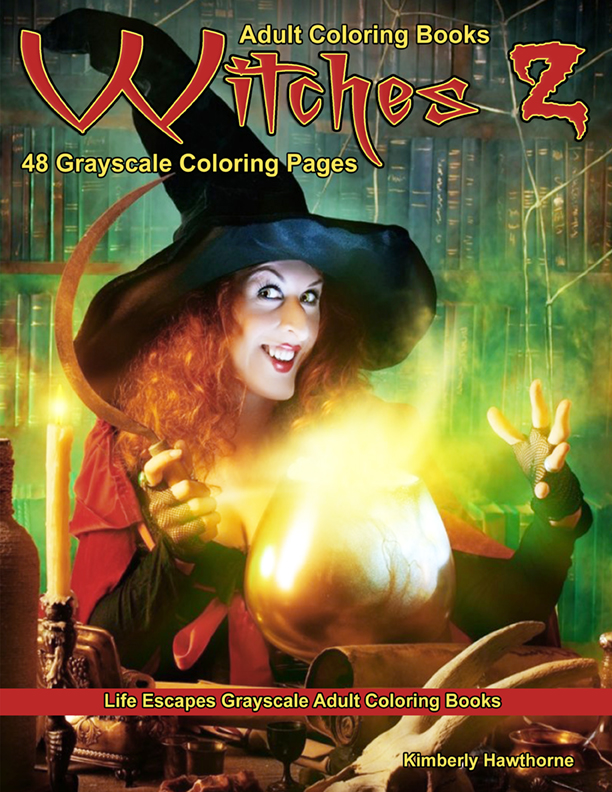 Witches 2 grayscale adult coloring book