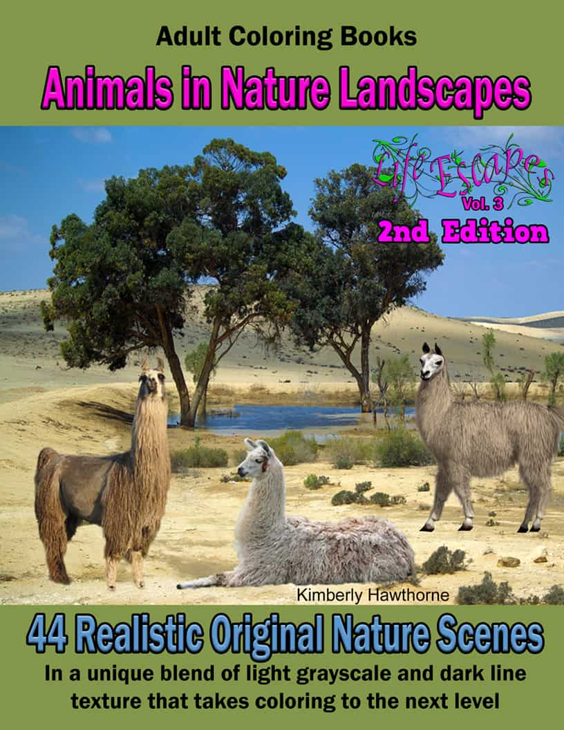 Animals In Nature Landscapes Coloring Book For Adults