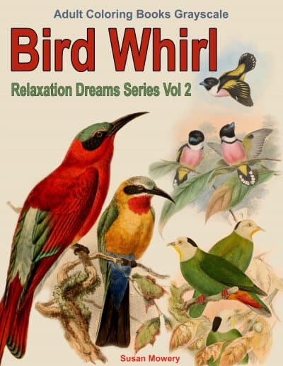 Bird Whirl adult coloring book