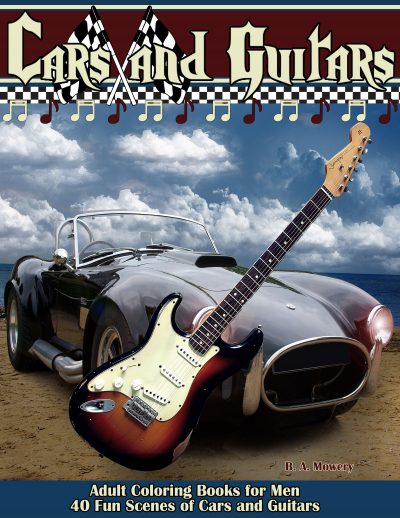 cars and guitars coloring book for men