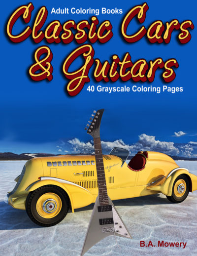 classic cars and guitars adult coloring book for men