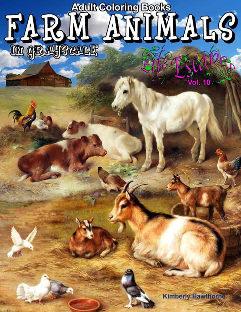 Life Escapes Adult Coloring Book Series Vol 10 Farm Animals