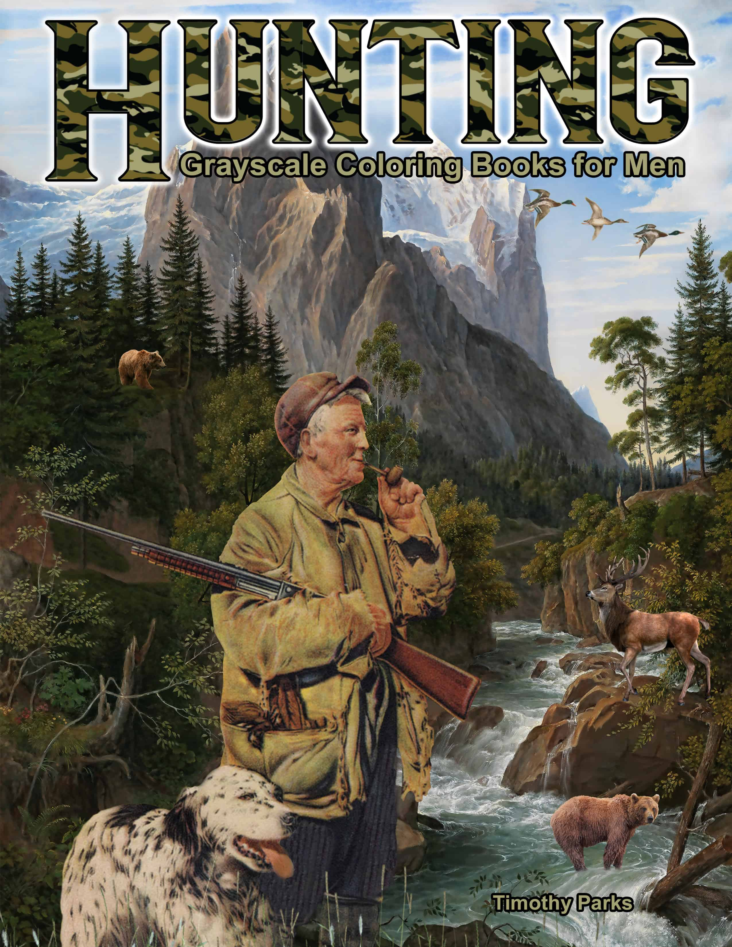 hunting coloring book for men