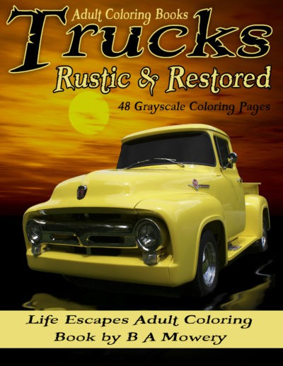 trucks rustic & restored adult coloring book