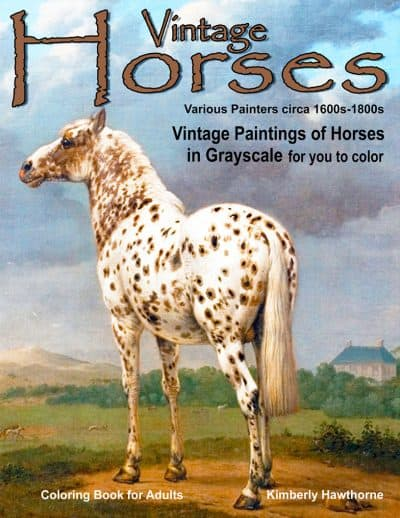 vintage horses coloring book for adults