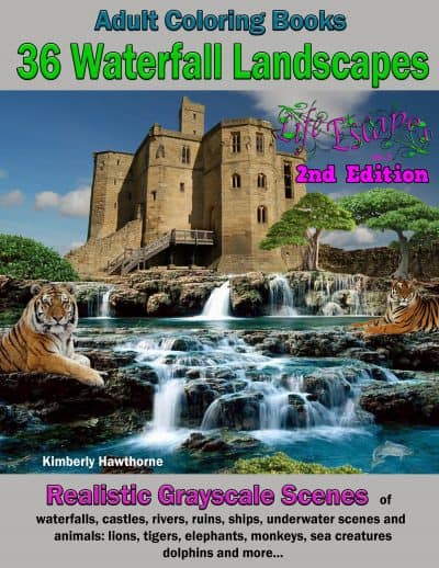 waterfall landscapes adult coloring book
