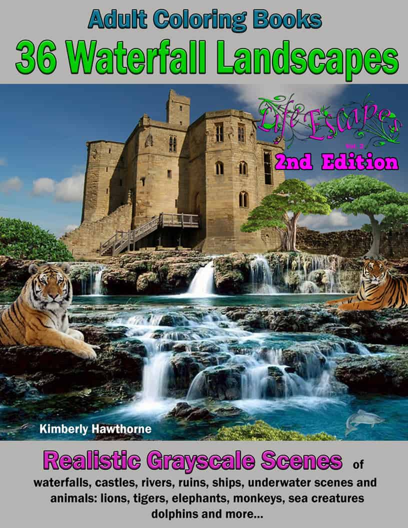 Life Escapes Adult Coloring Books Vol. 2 Waterfalls and Castles