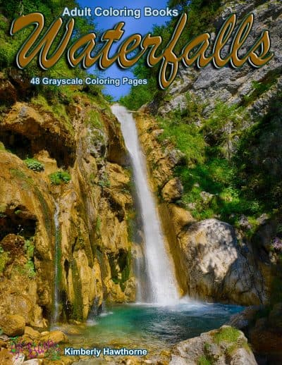 waterfalls adult coloring book